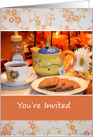 Tea Party Invitation, photo of tea pot, cup and cookies card