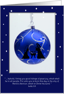 First Christmas Navitity, blue ornament with verse and navitivy card