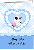 Happy First Valentine's Day Grandson, blue heart and puppy card