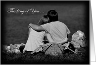 Thinking of You, couple with picnic basket on a river card