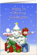 Happy 1st Christmas Goddaughter, Elf w/Christmas tree at North Pole card