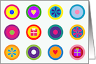Bright Circle Icons Grid Birthday card
