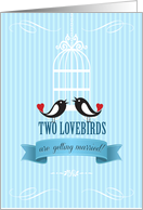 Lovebirds Blue Engagement Announcement card