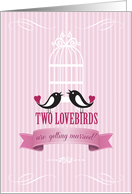 Lovebirds Pink Engagement Announcement card