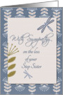 Sympathy Loss of Step Sister Dragonflies and Flowers card