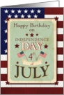 Happy Birthday on the 4th of July Independence Day Stars and Stripes card