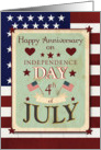 Happy Anniversary on 4th of July Independence Day Stars and Stripes card
