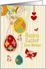 Happy Easter Step Mother Egg Tree, Butterflies and Flowers card