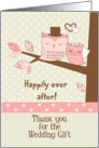 Thank You for the Wedding Gift Owl Couple in Tree with Polka Dots card