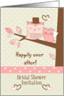 Bridal Shower Invitation Owl Couple in Tree with Polka Dots card