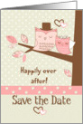 Save the Date Wedding Reminder Owl Couple in Tree with Polka Dots card