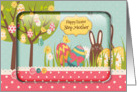 Happy Easter Step Mother Egg Tree, Bunny and Polka Dots card