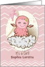 Baby Girl Announcement Custom Name Cute Pink Baby Monster card