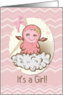 Baby Girl Announcement Cute Pink Baby Monster with Chevrons card