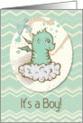 Baby Boy Announcement Cute Green Baby Dragon with Chevrons card