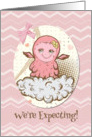 We're Expecting Baby Girl Announcement Cute Pink Baby Monster card
