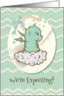 We're Expecting Baby Boy Announcement Cute Green Baby Dragon card