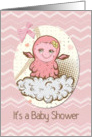 Baby Shower Invitation For Girl Cute Pink Baby Monster card
