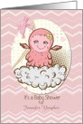 Baby Shower Invitation For Girl Custom Name Cute Pink Baby Monster card