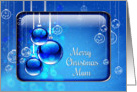 Merry Christmas Mum Sparkling Blue Ornaments card