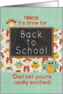 Niece Back to School Colorful Owls and Chalkboard card