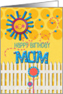 Happy Birthday Mom Sunshine and Flowers Scrapbook Style card