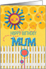 Happy Birthday Mum Sunshine and Flowers Scrapbook Style card