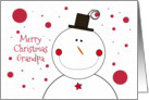 Merry Christmas to Grandpa Smiling Happy Snowman with Top Hat card