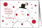 Merry Christmas to Grandma & Grandpa Smiling Snowman with Top Hat card