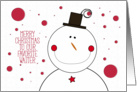 Merry Christmas to Favorite Waiter Smiling Snowman with Top Hat card