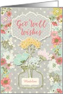 Get Well Wishes Custom Name Pretty Flowers in Vase on Polka Dots card