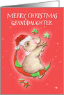 Merry Christmas to Granddaughter Adorable Teddy Bear Moon and Stars card