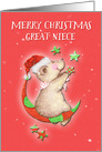 Merry Christmas to Great Niece Adorable Teddy Bear Moon and Stars card