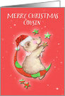 Merry Christmas to Cousin Adorable Teddy Bear Moon and Stars card