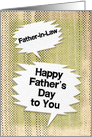Happy Father's Day to Father-in-Law Masculine Grunge Speech Bubbles card