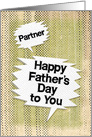 Happy Father's Day to Partner Masculine Grunge Speech Bubbles card