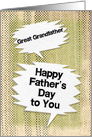 Happy Father's Day to Great Grandfather Masculine Grunge Speech Bubble card