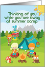 Thinking of You at Summer Camp Campers and Animals Camping card