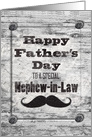 Happy Father's Day for Nephew-in-Law Masculine Rustic Mustache card