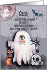Happy Halloween to Godson Halloween Scene Ghost Funny Pun card