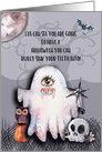 Happy Halloween Halloween Scene Ghost Funny Pun Skull and Owl card