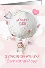 Baby Shower Gift Welcome Baby Girl Custom Name Hot Air Balloon card