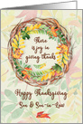 Happy Thanksgiving to Son and Son-in-Law Pretty Leaves card
