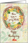 Happy Thanksgiving Pretty Leaves and Vine Wreath card