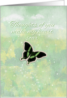 Tender Thoughts for Hospice Patient Soaring Butterfly in the Clouds card