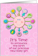 New Baby Girl Birth Announcement Pink Cute Baby Clock It's Time card