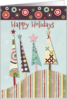 Happy Holidays Colorful Patterned Trees and Circles card