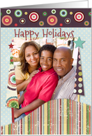Happy Holidays Colorful Patterned Trees and Circles Custom Photo card