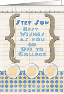 Step Son Off to College Best Wishes Stars and Notebook Paper card