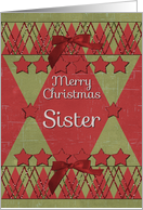 Merry Christmas Sister Scrapbook Style Stars and Glitter Effects card